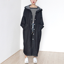 2016 Autumn New Korean Retro Long Denim Coat Boyfriend Style Plus Size Hooded Denim Coat Female