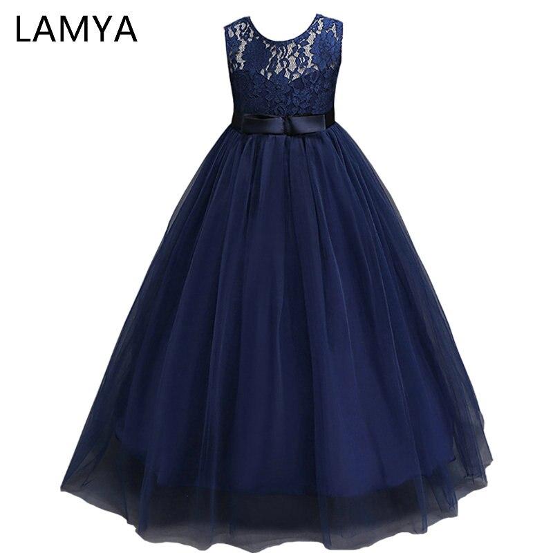 LAMYA White Lace Flower Girl Dresses For Weddings Baby Kids Dresses for Girls Clothes Long Tulle Formal Ball Gown