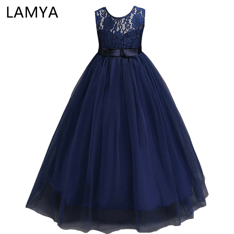 LAMYA White Lace   Flower     Girl     Dresses   For Weddings Baby Kids   Dresses   for   Girls   Clothes Long Tulle Formal Ball Gown