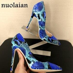 2018 Spring Brand Shoes Woman High Heels Womens Lady Pumps High Heel Shoe Ladies Shoes Snake Printed beige bottom 8 10 12 cm