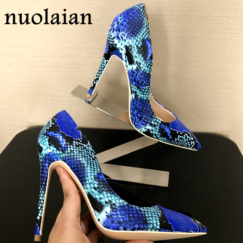 2018 Spring Brand Shoes Woman High Heels Womens Lady Pumps High Heel Shoe Ladies Shoes Snake Printed beige bottom 8 10 12 cm