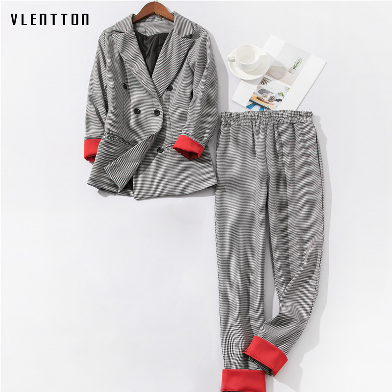 2019 New Women's Pantsuit Double Breasted Long Sleeve Office Blazer Tops & Pants Women's Suit Spring Autumn Plaid Two Piece Set
