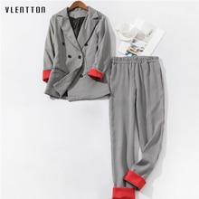 2019 New Women's Pantsuit Double Breasted Long Sleeve Office Blazer Tops & Pants Women's Suit Spring autumn Plaid Two Piece Set