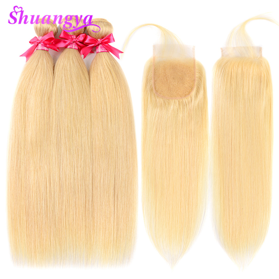 Shuangya HairBrazilian Straight 613 Bundles With Closure Remy Hair Blonde Bundles With Closure Human Hair Bundles
