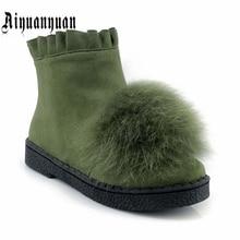 Aiyuanyuan Теплые Зимние ботильоны Большие размеры 40, 41, 42, 43 размеры 44, 45 из искусственного меха и оборками дизайн Туфли на низком каблуке