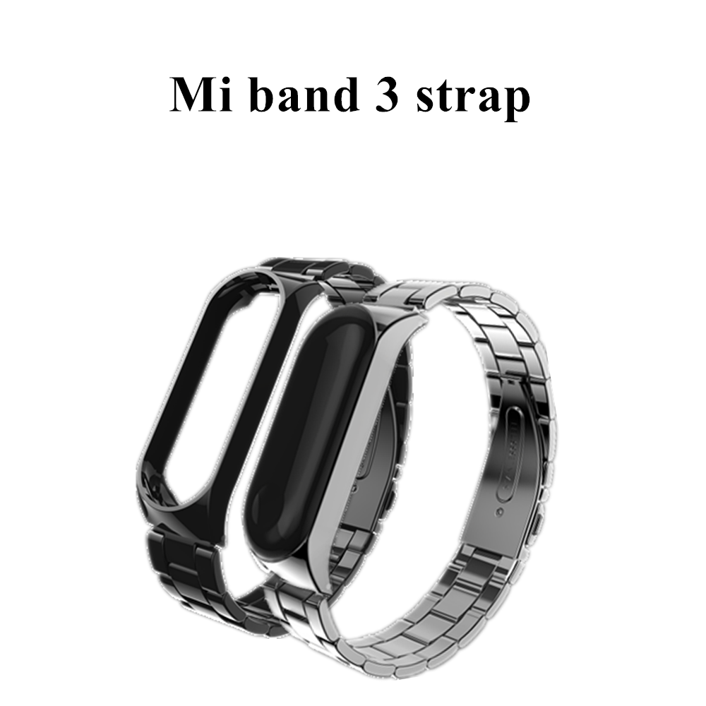 FGHGF Mi Band 3 Strap Screwless Stainless Steel Bracelet Smart Band my miban 3 Replace Accessories black For Xiaomi Mi band 3 metal strap for mi band xiaomi wristband replace accessories screwless stainless steel bracelet for mi band 2