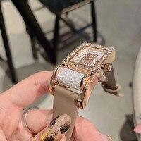 Saatler'ten Kadın Saatleri'de Yeni kişiselleştirilmiş iyi şanslar dönen varil kristaller saatler kadınlar için Vintage kare izle su geçirmez gerçek deri kol saati