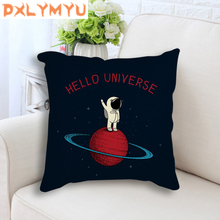 цена Cartoon Planet Star Rocket Spaceman Space Painting Print Cushion Throw Pillow For Sofa Seat Linen Cushion Pillowcase Home Decor