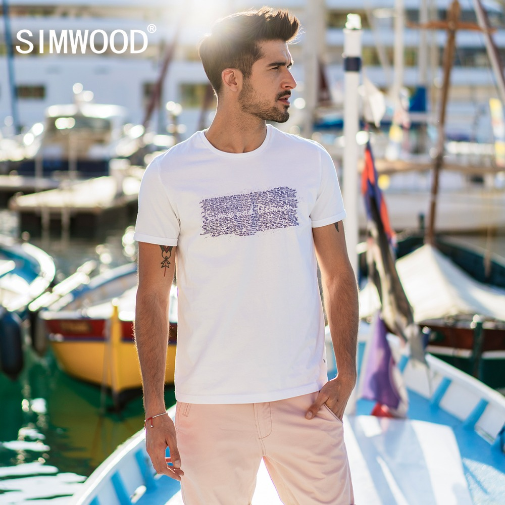 SIMWOOD 2019 Summer New Letter Print   T     Shirt   Men Slim Fit 100% Cotton Tops Fashion Plus Size Tees Casual Brand Clothing 180247