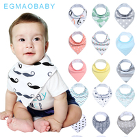 EGMAOBABY 16 Pcs Set Unisex Baby Bandana Drool Bibs Stylish Waterproof And Anti Dirty Absorbent Cotton