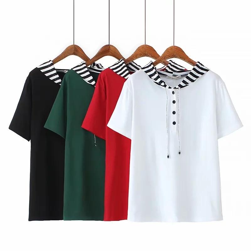 2019 summer wear loose stripe Hooded short sleeve T-shirt female Plus Size Women Casual Tops F31-X8122
