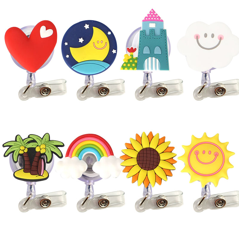 8 pcs/lot Lovely Heart Clouds House Nurse Retractable Badge Reel Pull ID Card 3D Badge Holder Belt Clip Hospital School Office-in Badge Holder & Accessories from Office & School Supplies
