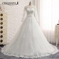Vestido De Noiva Ball Gown Vintage Wedding Dresses Lace Long Sleeves Appliques Robe De Mariage Vestido
