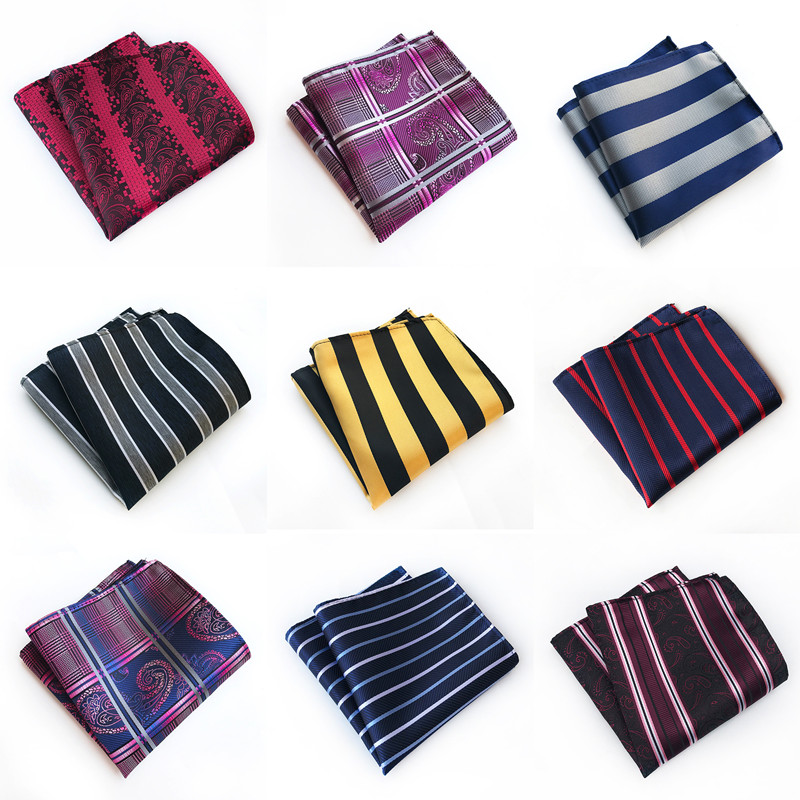 CityRaider Brand Gold Striped Silk Pocket Square Purple Paisley Pattern Mens Dark Blue Handkerchiefs Wholesale VIP Link C016