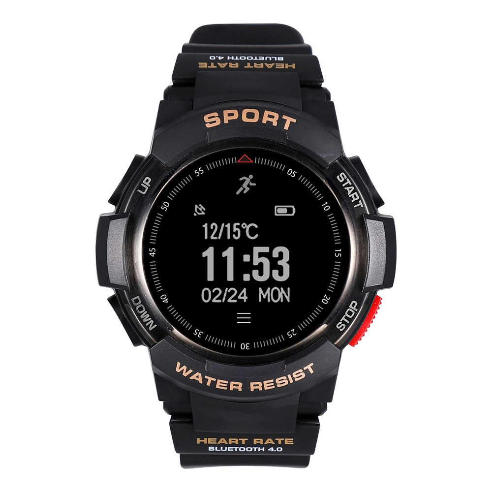 מס 1 F6 חכם שעון טלפון NRF51822 Smartwatch שעון לגברים IP68 שינה צג מרחוק מצלמה לביש התקני או iOS אנדרואיד