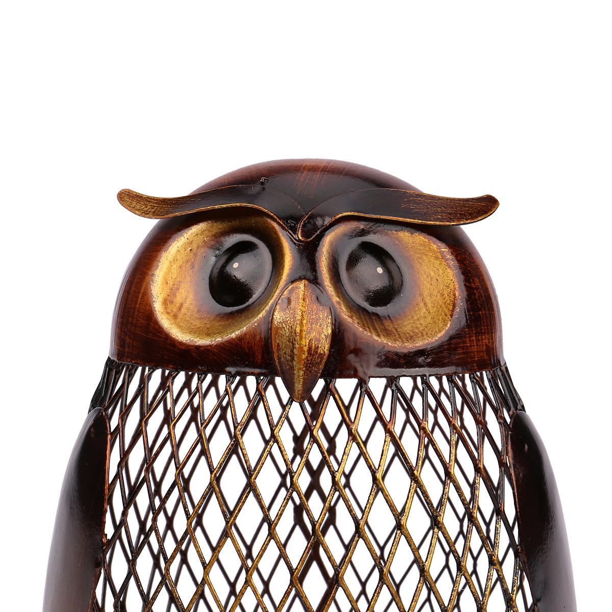 TOOARTS Owl Metal Coin Saving Money Pot Box Bank Iron Art Sculpture Craft Gift