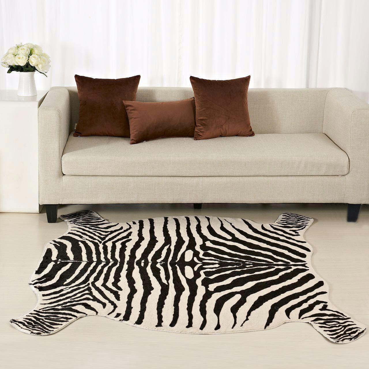 Zebra/Cow Printed Carpet PV Velvet Imitation Leather Rugs Animal Skins  Natural Shape Carpet Living