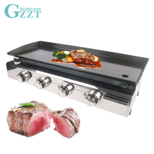 4 Burners Outdoor Use Gas Plancha LPG Grill Shiny Stainless Housing Enamel Cooking Plate Front Located Crumb Tray
