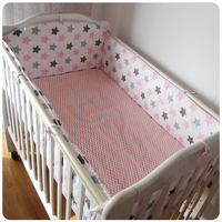 Promotion! 6PCS Bear character crib bedding set 100% cotton baby bedclothes bed around (bumpers+sheet+pillow cover)
