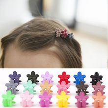 5pcs/set Children Flower Shape Headdress Hair Ornaments Scrub Retro Baby Small Clip Folder Petal Hairpin Girls Kids Hair Claws