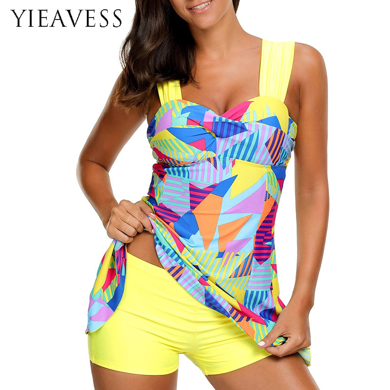2018 Plus Size Tankini Set Women Print Floral Two Piece Swimsuit Swimwear Dress Retro Bathing Suit Beach Wear S--5XL