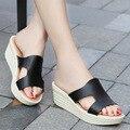 Cuñas de las mujeres Desliza Zapatos 2017 Marca Verano de Las Mujeres Zapatillas de Plataforma Zapatos de Las Mujeres Zapatos de Las Sandalias de Cuero de Moda Casual 211
