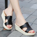 Women Wedges Slides Shoes 2017 Summer Brand Women Platform Slippers Shoes for Women Fashion Leather Casual Sandals Shoes 211