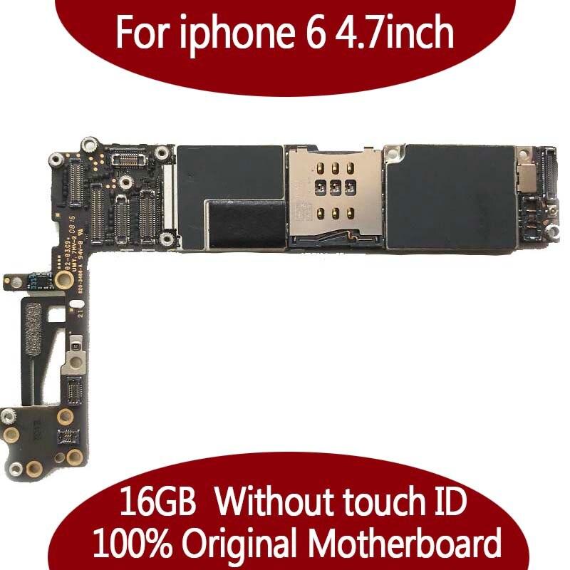 Para o iphone 6 Testado Bom Trabalho Original de Fábrica Desbloqueado 16 GB mainboard Motherboard para o iphone 6 de 4.7 polegadas Sem Toque ID