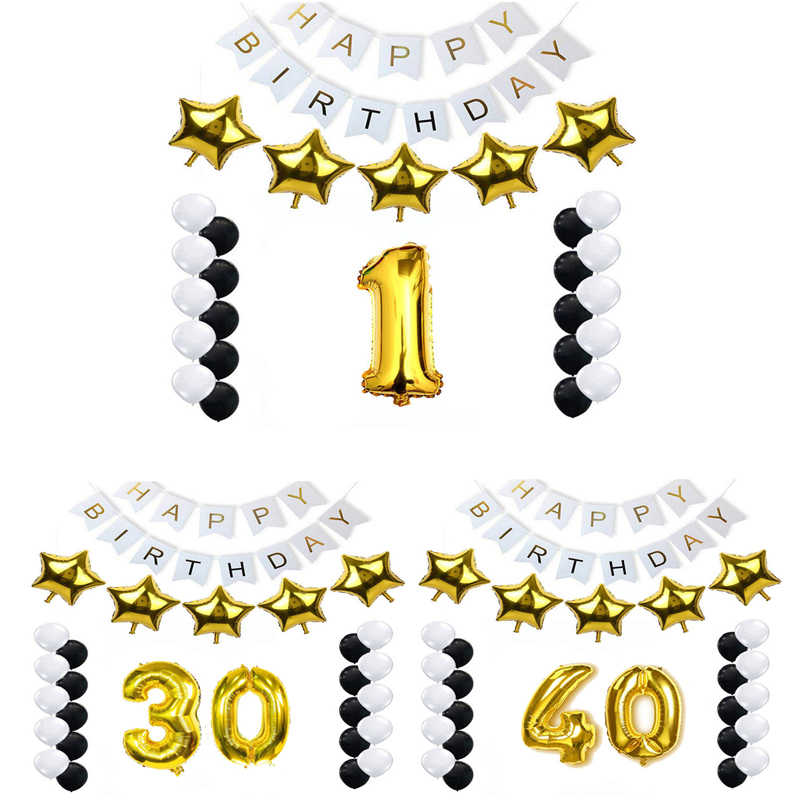 ชุดตกแต่งปาร์ตี้วันเกิด 1st 2nd 3rd 30th 40th 50th 60th 70th 80th 90th วันเกิดบอลลูนผู้ใหญ่ครบรอบอุปกรณ์