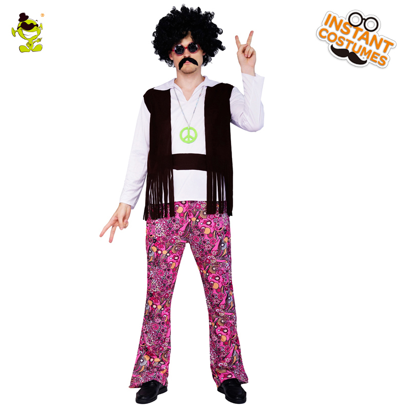Carnival Party Fancy Hippy Dress Adult Man Hippy Retro Suits Old Fashion Hippie Party Costumes