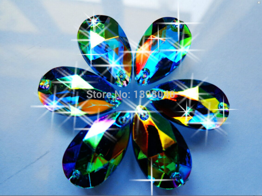 Free shipping Blue AB colour 11*18mm 150pcs sew on Acryl crystal rhinestones accessory gemstone hand sewing beads Drop shape
