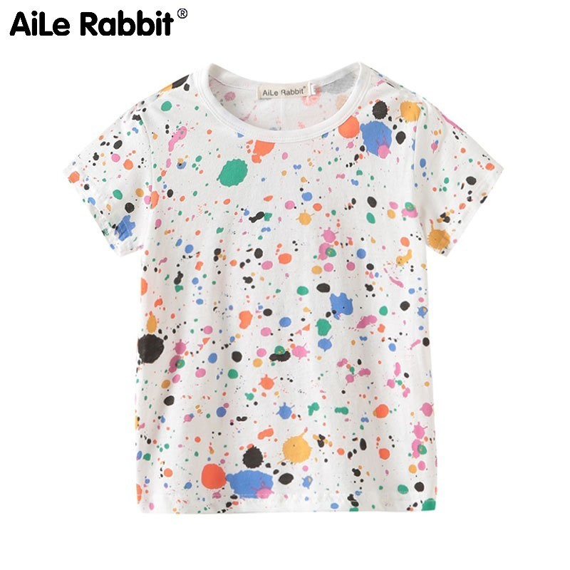 Children 39 s Garment Short Sleeve Children T Pity Pure Cotton Printing Catamite Undershirt Child A Doodle Paint Jet Generation in T Shirts from Mother amp Kids