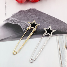 New Fashion Star Brooch Pins for Women Men Luxury Zircon Sweaters Scarf Pin Suit Christmas Gift Jewelry Wedding Accessories