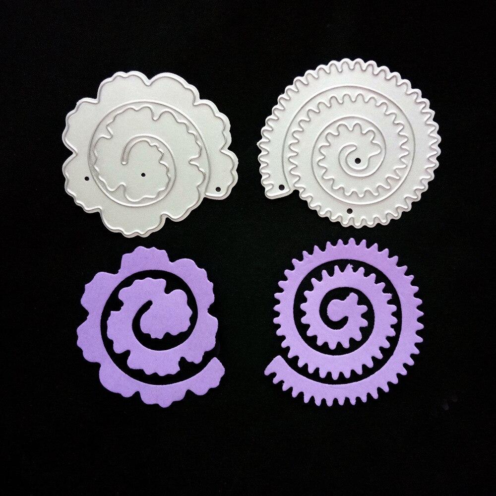 2Pcs//Set Rose Flower Roll Metal Cutting Dies Scrapbooking Embossing Card Crafts