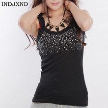 8fbde4538c0 INDJXND Fashion Women s Rhinestone Halter Sleeveless Blouse Patchwork Lace  Tank Low Bust Sexy Sling Shirt Hot Drilling Corset