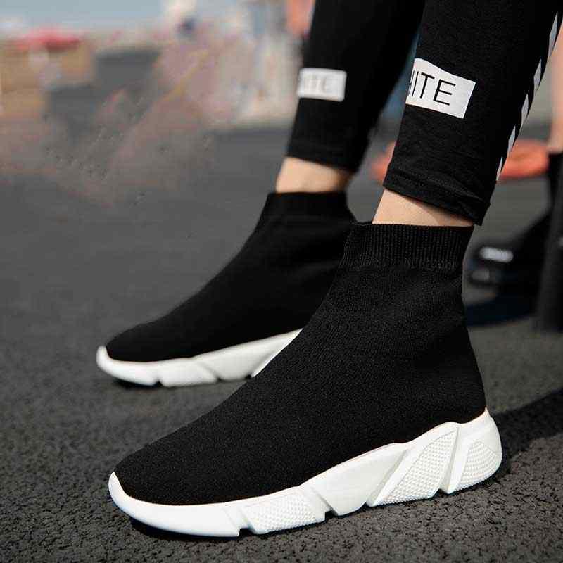 Kadınlar için Sneakers vulkanize ayakkabı kadın çorap ayakkabı eğitmenler kadınlar Slip-on streç platform ayakkabılar siyah spor ayakkabı 2019