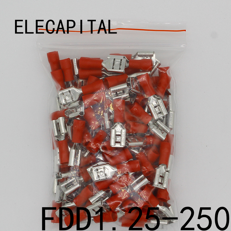 FDD1.25-250 insulating Female Insulated Electrical Crimp Terminal Connectors Cable Wire Connector 100PCS/Pack FDD1-250 FDD fdd2 250 female insulated electrical crimp terminal for 1 5 2 5mm2 connectors cable wire connector 100pcs pack fdd2 5 250 fdd
