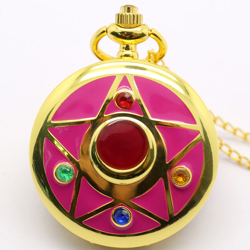 Sailor Moon Theme Red Color Star Case Quartz Pocket Watch With Necklace Chian Gift To Girls Ladies Women' Day