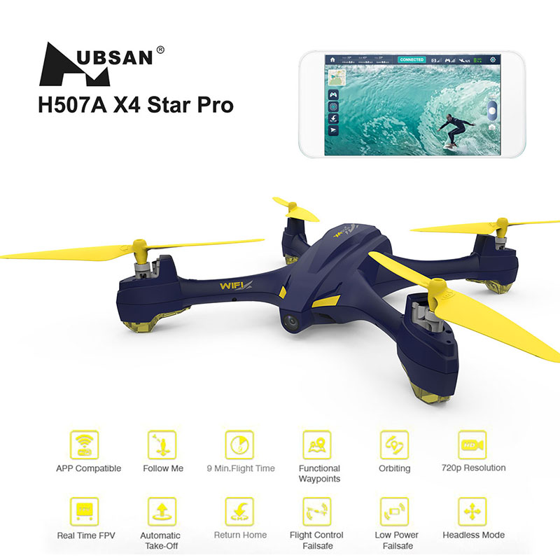 Hubsan X4 STAR H507A App Compatible Wifi FPV RC Drones With 720P HD Camera GPS RC Headless Quadcopter RTF with Transmitter newest apple shape foldable wifi fpv rc drone rc130 2 4g apple quadcopter with 6axis gryo with 720p wifi hd camera rc drones