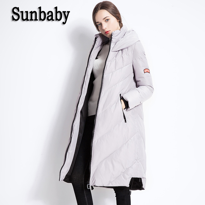 Sunbaby Winter maternity down coats Fashion Warm Thick Maternity Coat Parka duck down Hooded jacket for pregnant women