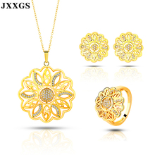JXXGS Dubai 24k Gold Jewelry Sets Ethiopian Jewelry For Women Earring And Necklace Sets Cubic Zircon Wedding Jewelry Set cwwzircons brand clear cubic zircon long big wedding necklace sets jewelry accessories for brides t162