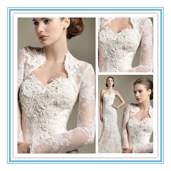 2017 New Fashionable Wedding Jacket Lace Long Sleeve Bridal Plus Size Wraps Asps