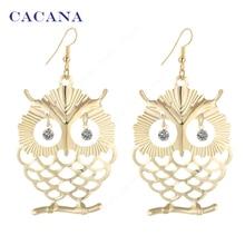 CACANA Earrings  Dangle Long Earrings For Women Beautiful Owl With Shining Eye Bijouterie Hot Sale No.A445