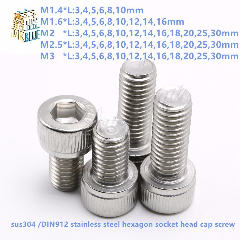 (50 pc/lot) M1.4,M1.6,M2,M2.5,M3 *L sus304 stainless steel hexagon socket head cap screw / model auto diy screw,DIN912 сковорода вок pyrex granate диаметр 28 см gr28bw5