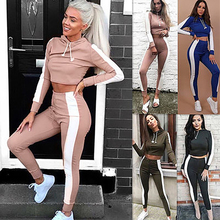 Active Wear Fitness Women Sport Suit High Waist Hooded+leggings Gym Outfit Tracksuit Workout Clothing Athletic