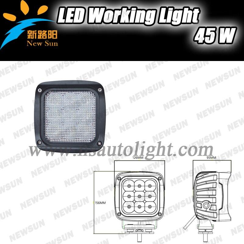 ФОТО 1PCS 45W LED Work Light Offroad 4WD ATV Car 4x4 Truck Tractor Bike Flood Lighting CAR Fog Back Up Lamp 45W Working Lamp IP68