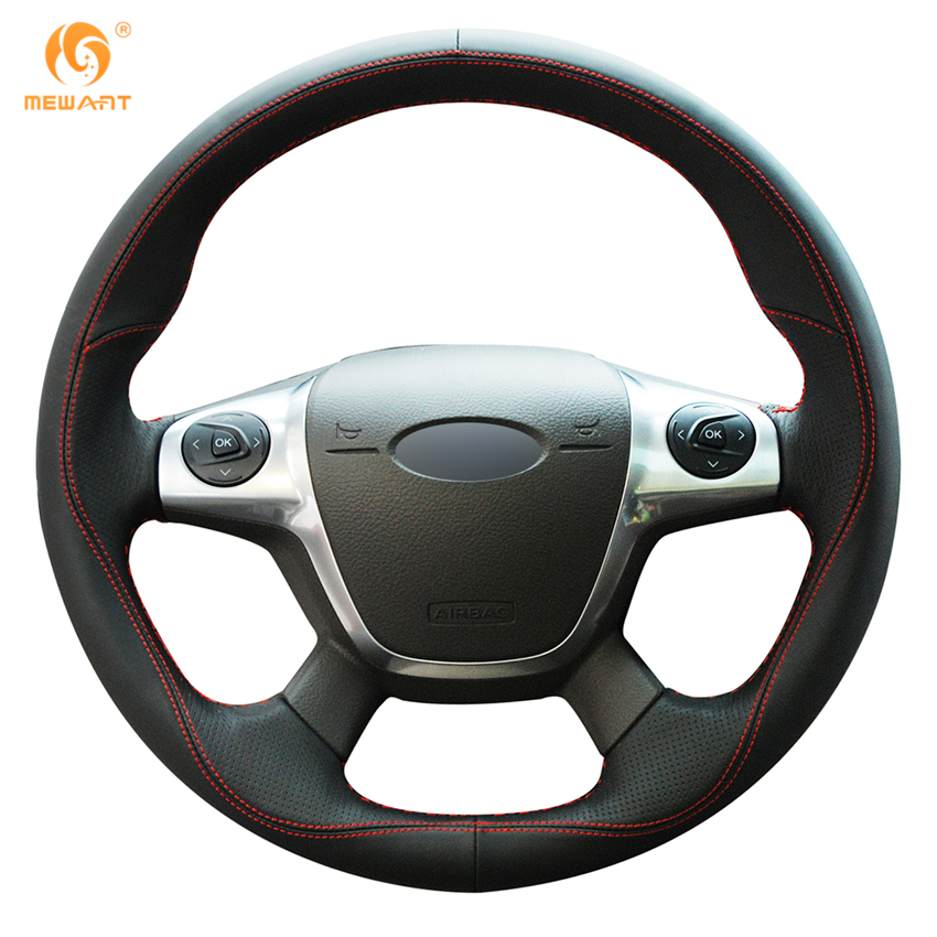 MEWANT Black Leather Car Steering Wheel Cover for Ford Focus 3 2012-2014 KUGA Escape 2013-2016 C-MAX 2011-2014 diy rear trunk security shade hatch black cargo cover shade for ford edge 2011 2012 2013 only