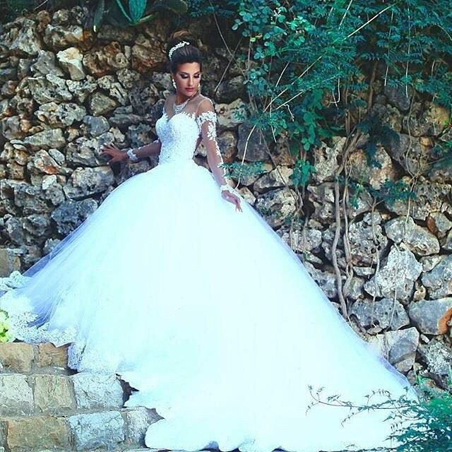5ec5e891a0 Vestidos de novia White Princess Bride Wedding dresses 2016 Beaded Lace  Wedding Dresses Sheer Illusion Long Sleeve Bridal Gowns