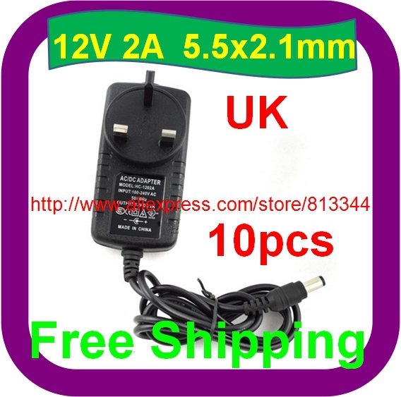 10 Stks Gratis Verzending Cctv Camera Uk Voeding 12 V 2a 5.5x2.1mm Stevige Constructie