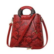 New Design women embossed handbag with flowers bucket bag large tote bag national floral pattern shoulder messenger bags